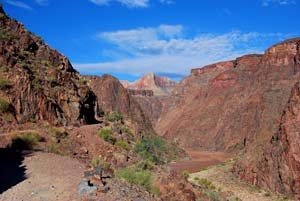 Blick vom Bright Angel Trail in den Grand Canyon August 2010